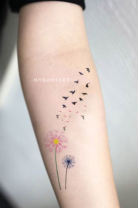 Cute Watercolor Pink Black & White Forearm Arm Tattoo Ideas for Women - ideas florales del tatuaje del antebrazo para mujeres - www.MyBodiArt.com #tattoos