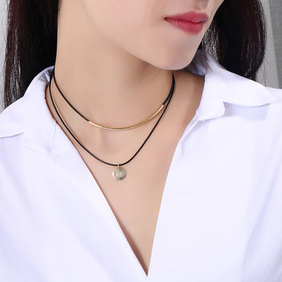 Cute Gold Coin Medallion Pendant Black Leather Choker Necklace for Teens for Women Trendy Fashion Jewelry- lindo collar de gargantilla de cuero colgante moneda de oro - www.MyBodiArt.com #necklaces