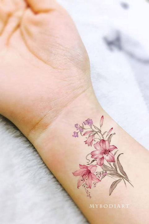 Pink Watercolor Floral Flower Wrist Tattoo Ideas for Women - www.MyBodiArt.com