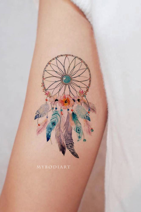 Beautiful Watercolor Dreamcatcher Tribal Boho Bicep Arm Tattoo Ideas for Women -  tatuaje del brazo atrapasueños - www.MyBodiArt.com #tattoos