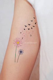 Cute Watercolor Pink Black & White Arm Bicep Tattoo Ideas for Women -  ideas florales del tatuaje del brazo - www.MyBodiArt.com #tattoos