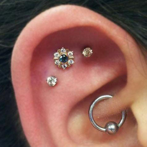 Cute Multiple Ear Piercing Ideas for Women Daith Earring Ring Cartilage Stud Jewelry - www.MyBodiArt.com