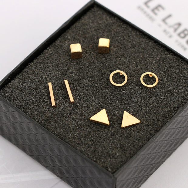 Minimalist Simple Geometric Shapes Earring Set 4 Pairs in Silver, Gold, Black - www.MyBodiArt.com