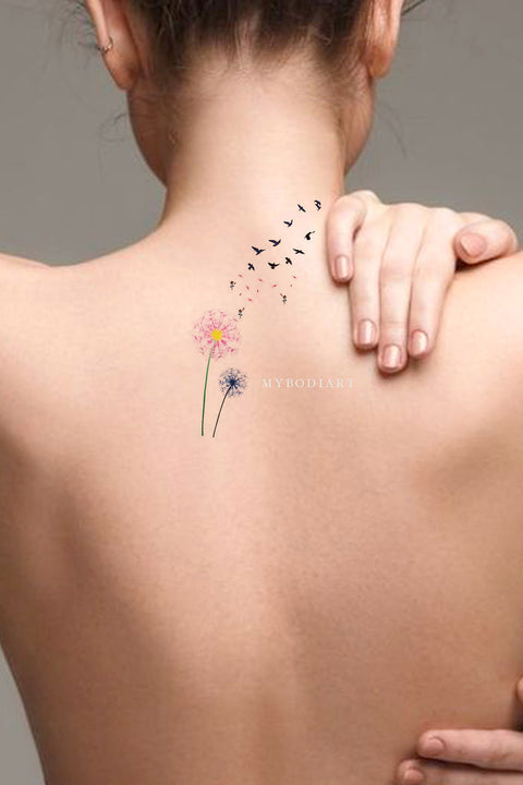 Cute Watercolor Pink Black & White Back Tattoo Ideas for Women -  ideas del tatuaje trasero de la flor - www.MyBodiArt.com #tattoos