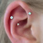 Cute Simple Opal Forward Helix Ear Piercing Ideas for Women -  lindas ideas para perforar orejas - www.MyBodiArt.com