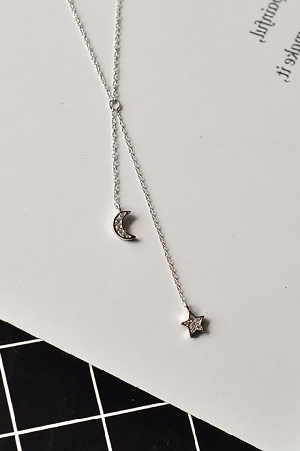 Xalia Dainty Simple Moon and Star Pendant Lariat Silver Chain Choker Necklace