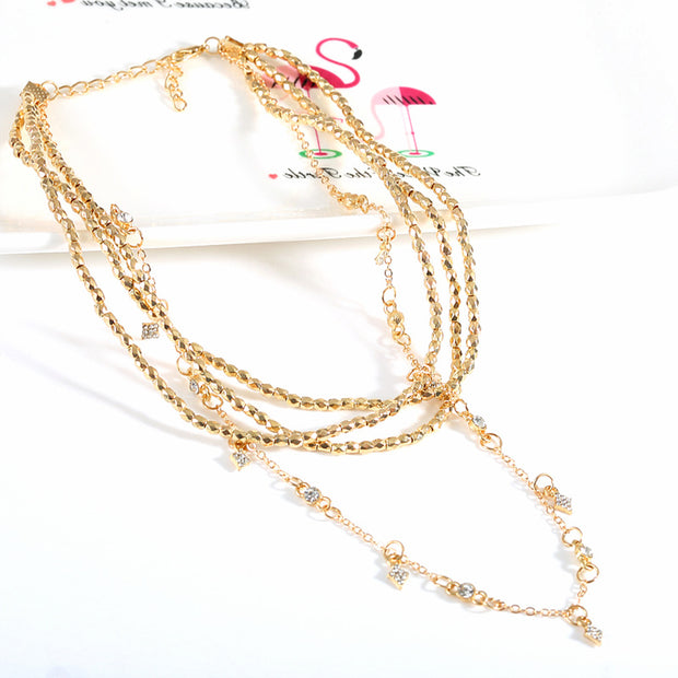 Sparkles Layered Star Beaded Choker Necklace in Gold