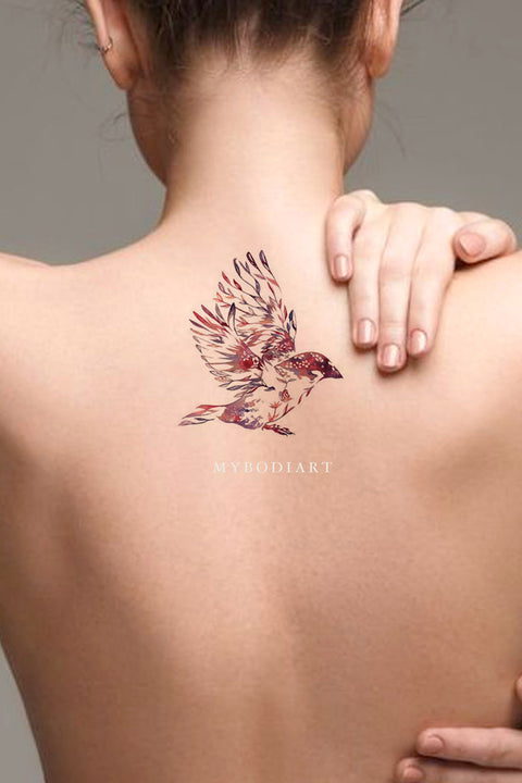 Cute Watercolor Sparrow Bird Back Tattoo Ideas for Women - ideas de tatuaje de espalda de pájaro - www.MyBodiArt.com