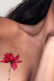Lotus Shoulder Tattoo Ideas Female Pretty Beautiful Watercolor Floral Flower Tat Inspiration for Women - www.MyBodiArt.com #tattoos