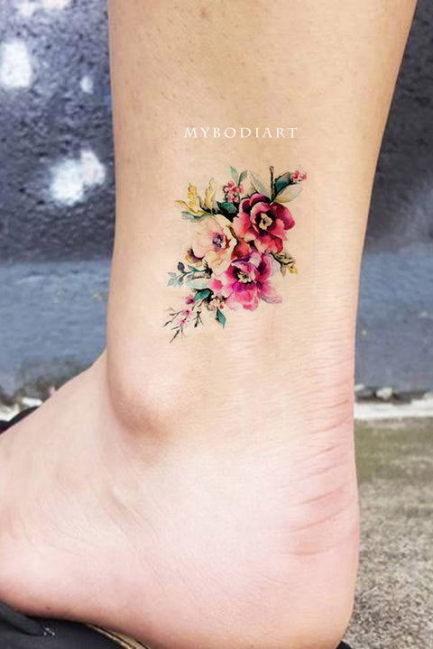Cute Small Watercolor Vintage Floral Flower Ankle Tattoo Ideas for Women -  ideas de tatuaje de tobillo de flor de acuarela - www.MyBodiArt.com