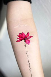 Cute Female Inspirational Flower Lotus Watercolor Script Temporary Tattoo Designs - Ideas de tatuaje de antebrazo de acuarela de loto para mujeres - www.MyBodiArt.com #tattoos