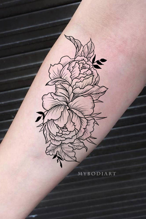 Cute Black Outline Floral Flower Rose Forearm Tattoo Ideas for Women - www.MyBodiArt.com #tattoos