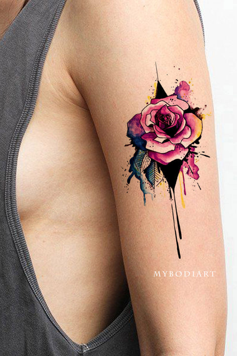 Cute Watercolor Floral Flower Rose Arm Sleeve Tattoo Ideas for Women -  idées de tatouage bras aquarelle rose - www.MyBodiArt.com #tattoos