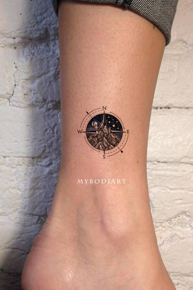 Cool Black and White Compass Mountain Galaxy Space Tattoo Ideas for Women - www.MyBodiArt.com #tattoos