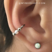 Cute Opal Ear Piercing Ideas for Women Opal Earring Stud for Tragus, Cartilage, Helix, Conch -  lindas ideas para perforar orejas - www.MyBodiArt.com