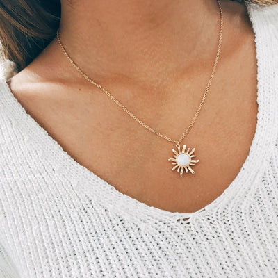 Cute Simple Boho Opal Sun Choker Necklace Jewelry in Gold or Silver - collar de gargantilla de sol opal - www.MyBodiArt.com #necklace