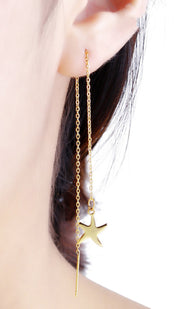 Unique Star Dangle Drop Threader Earrings - Cute Statement Jewelry for Teenagers or Women in Gold  - Patterns Avaliable: Starfish / Dragonfly - www.MyBodiArt.com #earrings