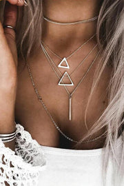 Cute Layered Geometric Silver Choker Necklace Fashion Jewelry Ideas for Women - www.MyBodiArt.com