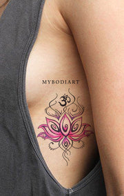 Tribal Pink Watercolor Lotus Rib Tattoo Ideas for Women Bohemian Boho Chic Floral Flower Tattoos - ideas de acuarela acuarela lirio lirio tatuaje para las mujeres - www.MyBodiArt.com