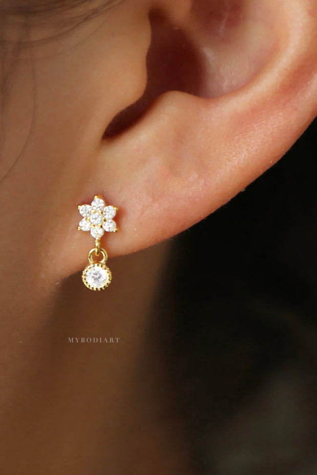 Cute Dainty Crystal Flower Drop Earring Studs for Women Fashion Jewelry Ear Piercing for Tragus, Cartilage, Helix in Gold or Silver - www.MyBodiArt.com