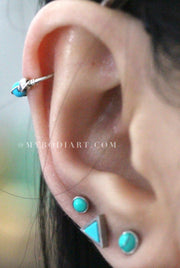 Boho Ear Piercing Ideas for Women - Cute Turquoise Earring Stud Piercings 16G -  - lindas ideas para perforar orejas - www.MyBodiArt.com