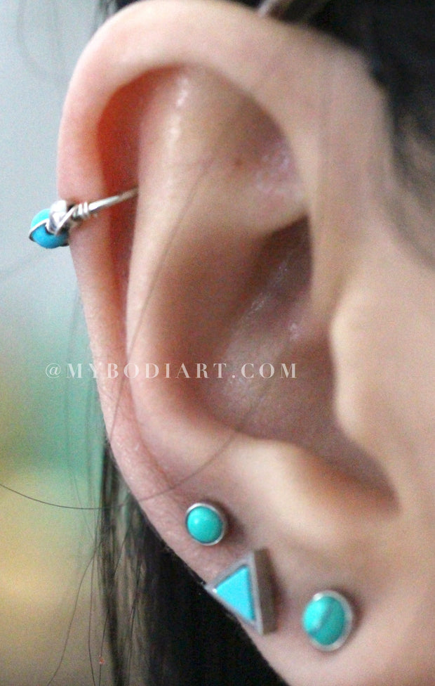 Boho Ear Piercing Ideas for Women - Cute Turquoise Earring Rings 16G for Cartilage, Helix, Conch, Tragus, Piercings - lindas ideas para perforar orejas - www.MyBodiArt.com