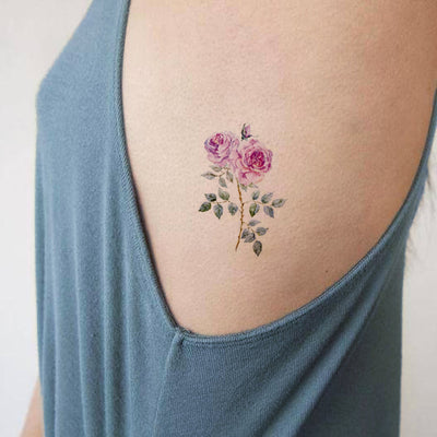 Traditional Pink Rose Rib Tattoo Ideas for Women - Watercolor Vintage Floral Flower Small Side Tat -pequeñas ideas rosadas del tatuaje de la costilla rosada - www.MyBodiArt.com # tattoos