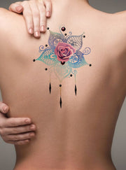 Unique Rose Mandala Back Tattoo Ideas for Women - Metallic Watercolor Floral Flower Chandelier Tat - ideas únicas para el tatuaje de rosa - www.MyBodiArt.com #tattoos