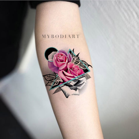 Unique Watercolor Pink Rose Forearm Tattoo Ideas  - Traditional Geometric Mandala Triangle Arm Tat for Women - ideas del tatuaje del antebrazo de la rosa del rosa de la acuarela para las mujeres - www.MyBodiArt.com #tattoos