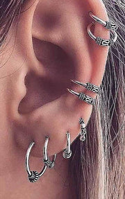 Bohemian Multiple Ear Piercing Ideas - Ear Lobe Hoop Earrings Conch Cartilage Helix Ear Cuffs - Fashion Statment Jewelry -  bohemia oreja piercing joyas -  www.MyBodiArt.com