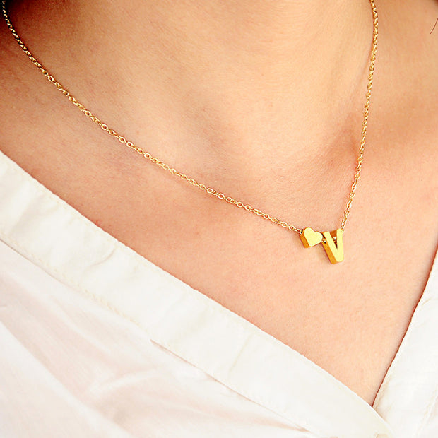 Dainty Modern Personalized Name Initial Letter Heart Pendant Necklace in Gold or Silver - www.MyBodiArt.com
