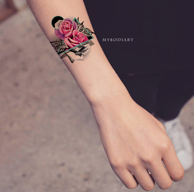 Cute Pink Watercolor Floral Flower Rose Small Wrist Tattoo Ideas for Women - www.MyBodiArt.com