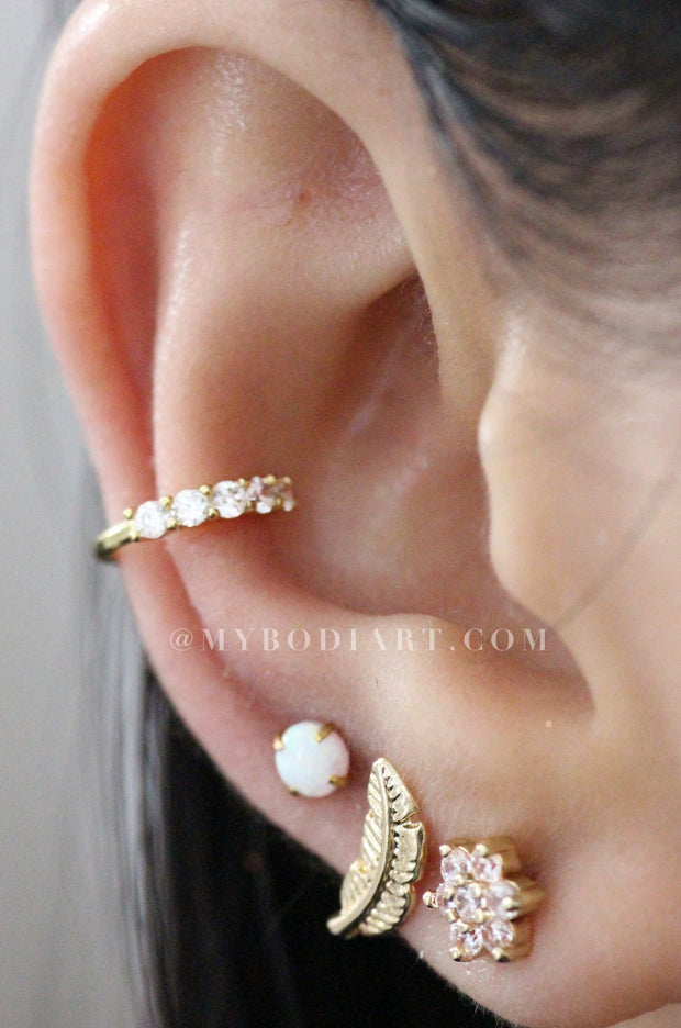 Cute Multiple Ear Piercing Ideas - Trendy Crystal Flower Cartilage Conch Helix Earrings - www.MyBodiArt.com #earrings