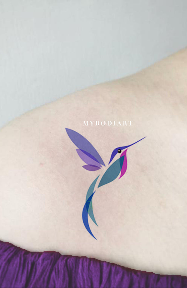 Small Watercolor Hummingbird Shoulder Tattoo Ideas for Women - Beautiful Colorful Color Block Bird Arm Tat - acuarela colibrí colorido hombro ideas del tatuaje para las mujeres - www.MyBodiArt.com #tattoos