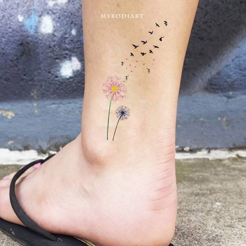 Cute Watercolor Pink Black & White Ankle Tattoo Ideas for Women -  ideas de tatuaje de tobillo de diente de león - www.MyBodiArt.com #tattoos
