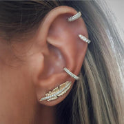 Unique Boho Ear Piercing Ideas for Women Cartilage Helix Hoop Ring Earrings Leaf Feather Ear Climber -  ideas bohemias de perforación de la oreja - www.MyBodiArt.com