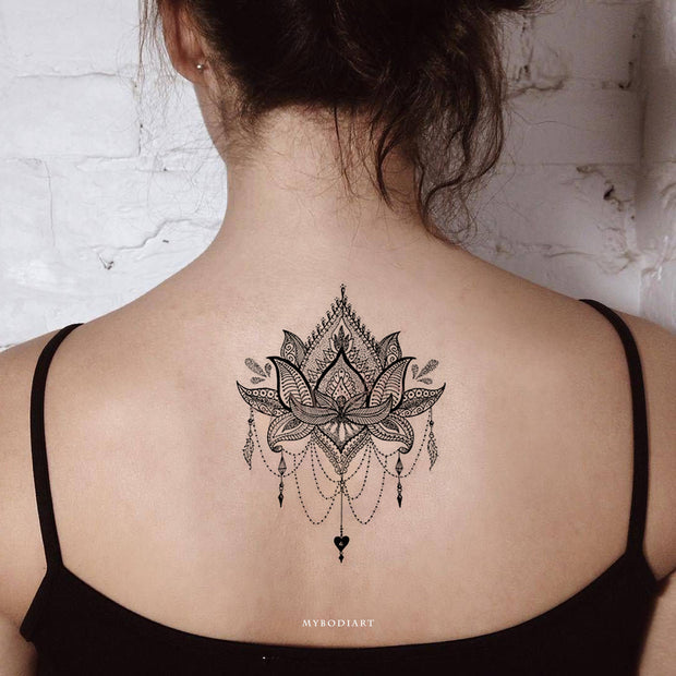 Small Back Temporary Tattoo Ideas for Women Lace Mandala Lotus Chandelier Black Tribal Boho Tat - www.MyBodiArt.com #tattoos