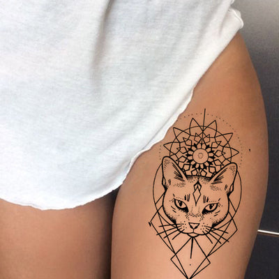 Tribal Linework  Outline Egyptian Cat Thigh Tattoo Ideas for Women - Boho Ethnic Geometric Sacred Mandala Leg Tat - www.MyBodiArt.com #tattoos