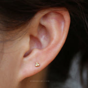 Multiple Ear Piercing Ideas for Teenagers for Women Minimal Tribal Bohemian Boho Hoop Earrings Triple Ball Studs Jewelry -  ideas para perforar orejas - www.MyBodiArt.com