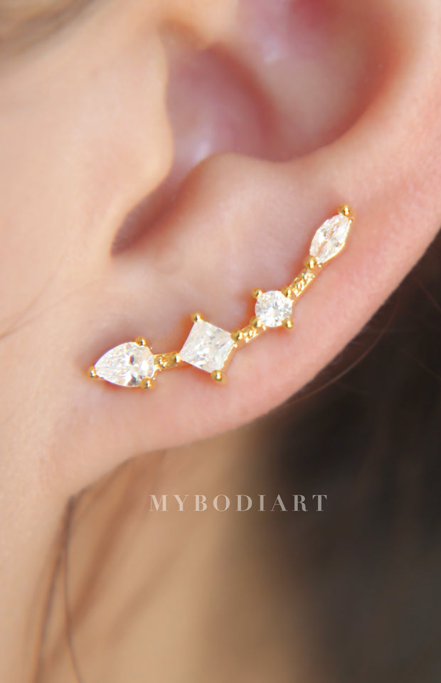 Elegant Ear Piercing Ideas for Women - Long Crystal Bar Ear Climber Crawler Earrings in Rose Gold or Silver - idées de piercing fantaisie pour les femmes - www.MyBodiArt.com #earrings