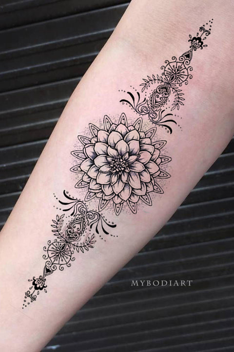 Tribal Boho Black Lotus Mandala Forearm Temporary Tattoo Ideas for Women - www.MyBodiArt.com #tattoos