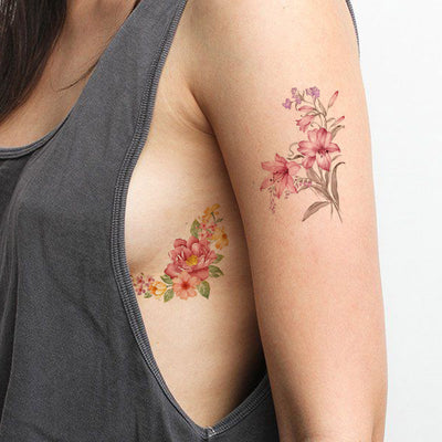 dafc8cc80 Vintage Flower Rib Tattoo Ideas for Women - Realistic Small Lily Floral  Peonies Watercolor Arm Sleeve
