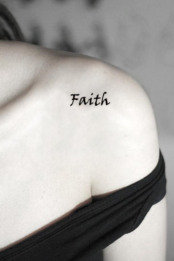 Small Black Script Faith Quote Shoulder Tattoo Ideas Placement for Women - www.MyBodiArt.com #tattoos