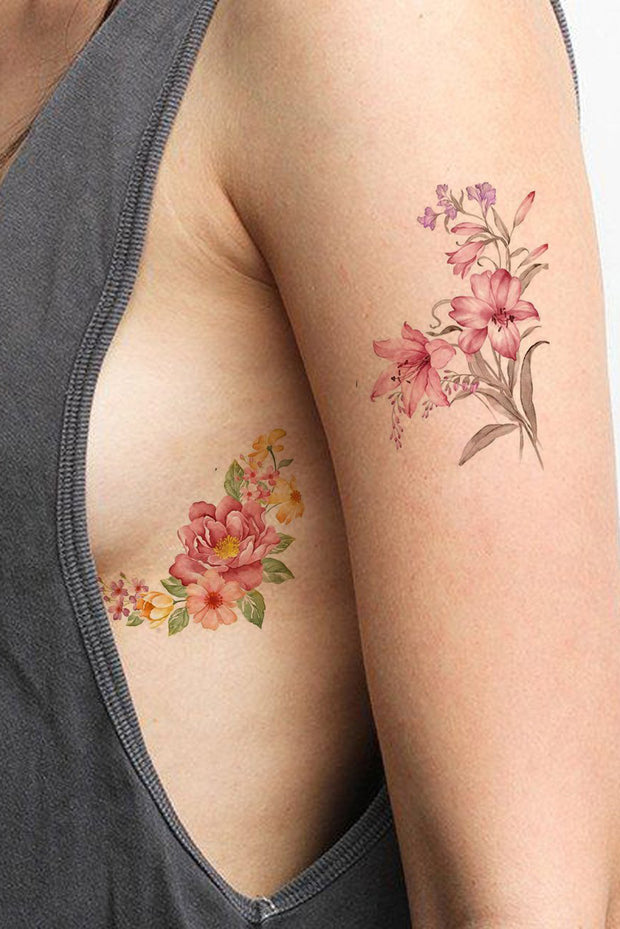 Vintage Flower Rib Tattoo Ideas for Women - Realistic Small Lily Floral Peonies Watercolor Arm Sleeve Tat - ideas de tatuajes de costillas de flores vintage para mujeres - www.MyBodiArt.com #tattoos