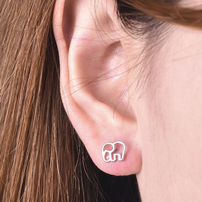 Cute Elephant Animal Outline Stud Earrings in Silver Womens Fashion Jewelry - www.MyBodiArt.com