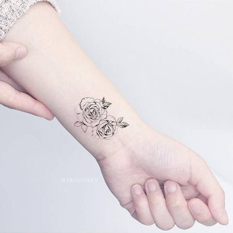 Small Delicate Rose Floral Flower Outline Drawing Wrist Tattoo Ideas for Women - www.MyBodiArt.com #tattoos