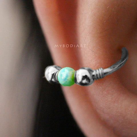 Cute Conch Ear Piercing Ideas for Women Green Opal Ear Cuff Gold Earring 16G -  lindas ideas para perforar orejas - www.MyBodiArt.com