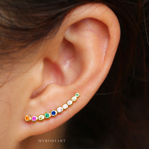 Unique Rainbow Gemstone Crystal Ear Climber or Ear Cuff Earrings - Cute Multiple Ear Piercing Ideas Fake Cartilage Conch Clip Rings - cute rainbow earrings  - lindos pendientes de arcoiris - www.MyBodiArt.com