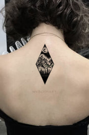 Cool Black Nature Back Tattoo Ideas for Women Diamond Mountain Tree Moon Tat  - Ideas de tatuajes para las mujeres  www.MyBodiArt.com