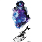 Watercolor Planet Stars Galaxy Space Astronaut Tattoo Ideas for Women - www.MyBodiArt.com #tattoos